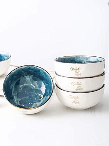 HUAHUA Bowls Tazón cuencos Snack-Dip vajilla de cerámica Ensalada Postre Tazón Cuchara Desayuno estrellada pequeño tazón de fuente de la familia del cuenco de fruta arroz Cuenco lindo for los regalos