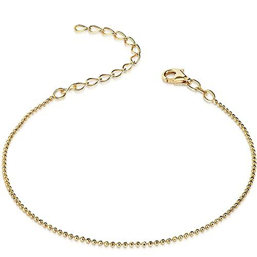 Materia #SA-67 - Pulsera de cadena con bolitas brillante, con capa de 1mm de grosor, fabricada en plata 925 chapada en oro, tallada y pulida, con caja de regalo