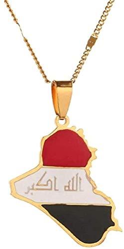 Yaoliangliang Collar de Acero Inoxidable con Colgante de Mapa de la República de Irak, Colgante con Nombre de Alá, joyería de Mapa de Irak