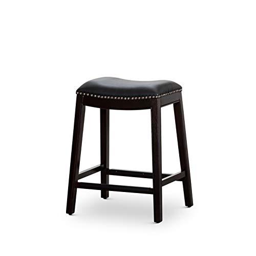 "DTY Indoor Living Frisco Bonded Leather Saddle Stool, 24"" Counter Stool, Espresso Finish, Black Leather Seat"