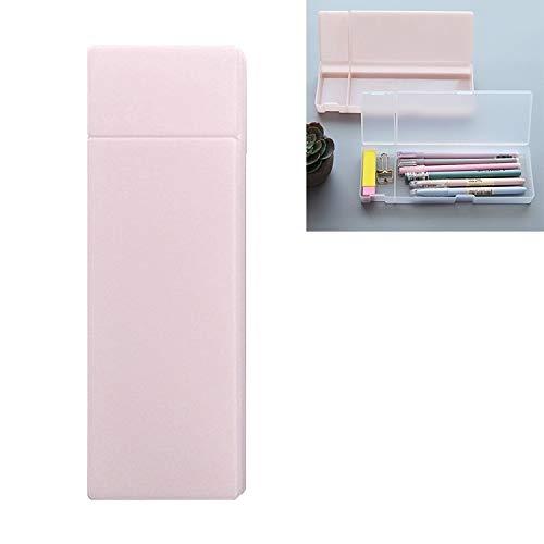 Jinyang Efectos de escritorio transparente simple caja de lápiz de los efectos de escritorio de oficina esmerilado de plástico lápiz Plumas Caja de almacenamiento Suministros (verde menta Pequ