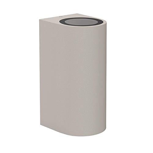 ledscom.de Luz exterior ALSE Up- & Downlight, Exterior gris aluminio redondo + 2 bombillas LED GU10 blanco cálido Regulación en 3 pasos: 540lm cada una, 8 pcs.