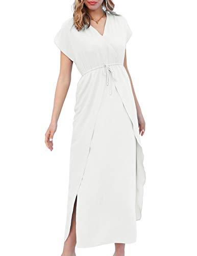Short Sleeve Long Wrap Dress for La…