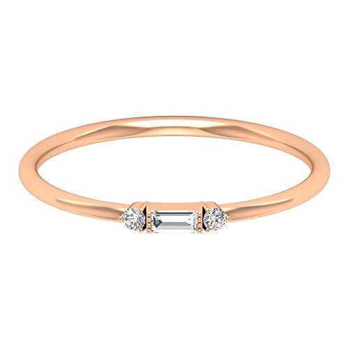 Anillo de tres piedras, anillo solitario de diamantes baguette, anillo de promesa Trinity, apilable para todos los días, regalo de dama de honor, 14K Oro rosa, Size:EU 53
