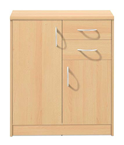 Kommode Highboard Mehrzweckschrank | Dekor | Buche | 2 Türen | 2 Schubladen