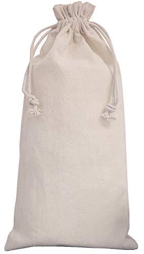 10 Leinensäckchen, Leinenbeutel mit Baumwoll-Kordel, Geschenkverpackung aus Leinen-Baumwoll-Stoff, Flaschenbeutel, Geschenk, Dekoration (37 x 15 cm)