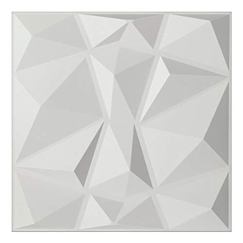 Arty Wall PVC 3D Decorative Wall Panel Tiles Cladding Board Matt White Pack of 12 Panels 32 Sq ft (Diamond)