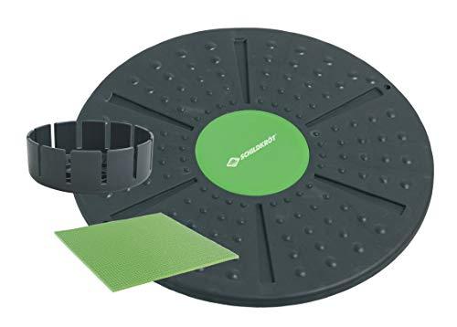 Schildkröt Fitness Balance-Board, Anthrazit-Grün, inklusive Extra-Aufsatz mit stärkerer Wölbung, Anti-Rutsch Pad, in 4-Farb Karton, 960031