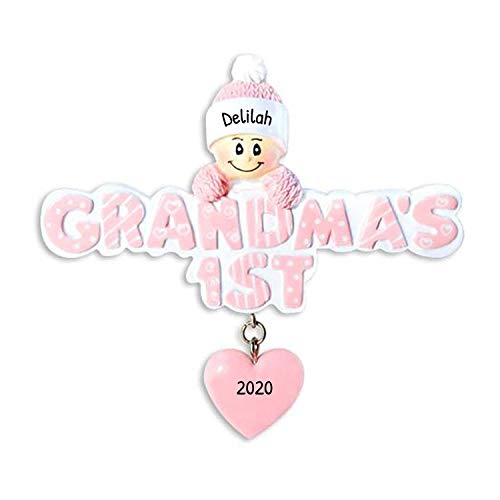 Personalized Grandma's 1st Christmas Ornament 2018 - Baby Girl Knit Cap Mittens Glitter Pink Letters with dangling Heart - Grandmother's First Grand-child New Born Kids - Free Customization (Pink)