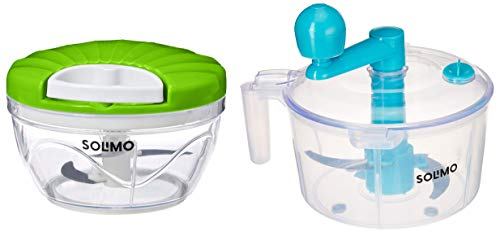 Amazon Brand - Solimo 500 ml Large Vegetable Chopper with 3 Blades, Green & Plastic Atta/Dough Maker Combo