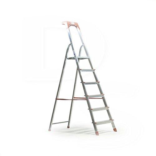 Kasart scala scaletto uso domestico in alluminio portata 150 kg made in Italy certificata EN 131 (7 gradini)