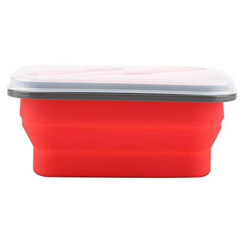 Caja de almuerzo portátil plegable de silicona, contenedor de almacenamiento de alimentos, color rojo 600 ml