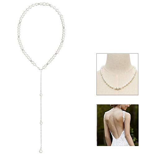LONGBLE Braut Rückenkette,Damen Halskette Y-Kette Brautschmuck, Perlenkette Backdrop Necklace Körperkette Bauchketten