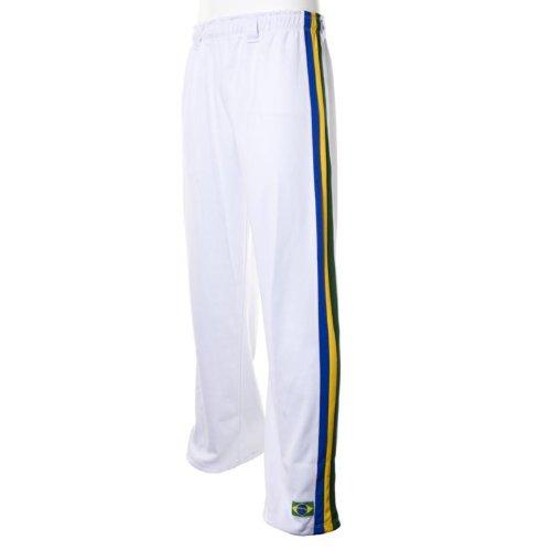 JL Sport Authentiques Brésilien Capoeira Arts Martiaux Pantalons pour Unisex (Blanc avec Le Brésil National De Couleur Verticales du Dos des Rayures) - M