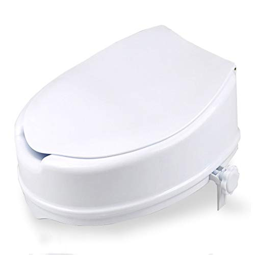 Double east Elongated Lock Raised Toilet Seat, Adds 5.1 Inches to Toilet Height,Elderly and Handicap Toilet Seats Riser,Easy Installation/Remove