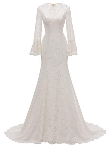 Vannawong - Vestido de mujer de sirena, encaje completo, para boda, vestido...