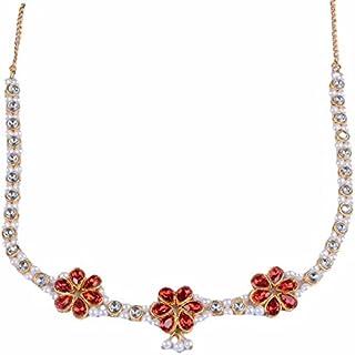 Red 3 Flower Kundan Gold Plated Kamarband/Bellychain/kamarpatta/ottiyanam/vaddanam/Waist Hip Belt
