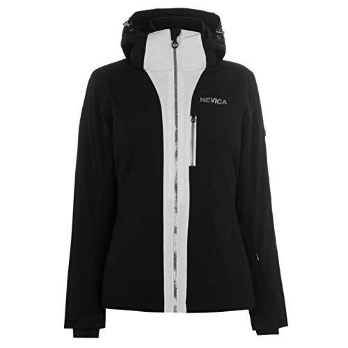 Nevica Damen Meribel Ski Jacke Skijacke Kapuze Taschen Schwarz/Weiß S