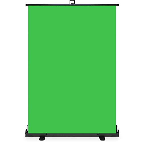 KHOMO GEAR Green Screen Hintergrund mit Ständer Extra groß 138 x 208 cm Auto-Locking Pull-Up Tragbare Foto- und Video-Streaming Chroma Key - Grün