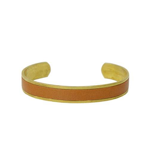 名入れ 真鍮 ヌメ革 バングル ブレスレット 刻印付き 指輪 メンズ レディース レザー ペアバングル brass プレゼント ギフト (キャメル, S)