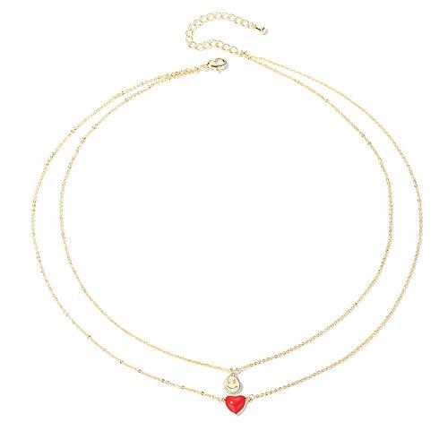 """QIANJIN - Collar con texto en inglés """"Smiley and Love"""", cadena de clavícula, cuello corto para mujer, collar de temperatura, collar negro, regalo de fiesta"""