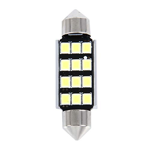 Para auto ZAM 2 PCS 3.5W 250 LM 6000K luz de lectura Cúpula 39MM 12-SMD 2835 LED Bicúspide Puerto decodificación del coche de la lámpara LED, CC 12V (luz blanca) (Color : White Light)