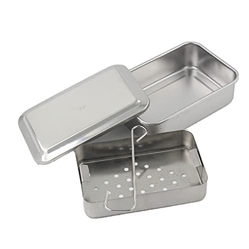 ANYURAN 304 Stainless Steel Instruments Tray, Sterilizer Sterilization Box with Lid for Case Immersion Disinfection Tray Surgical