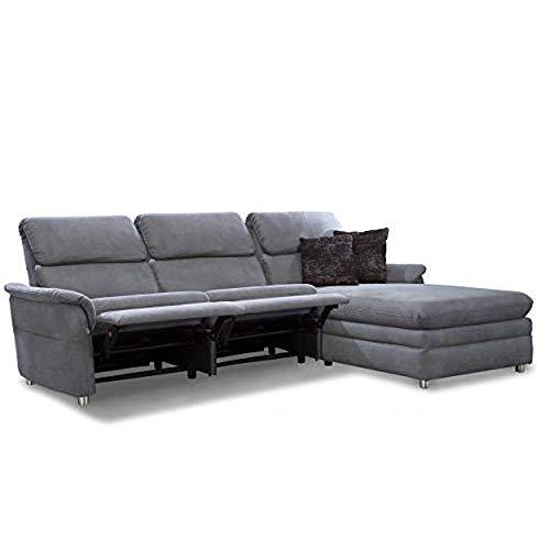 Cavadore Chalsay Polstergarnitur mit Longchair rechts inkl. Relaxfunktion / mit Federkern / Eckcouch im modernen Design / Größe: 252 x 94 x 177 cm...