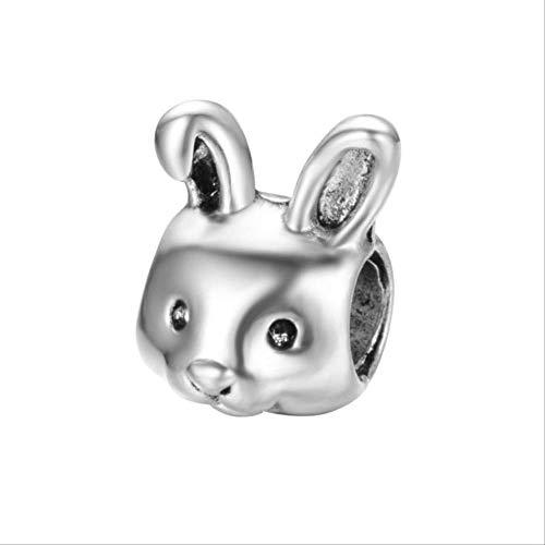 HUASE Accesorios Aleación Bead Tetera Tiger Rabbit Mouse Charm Fit Pandora Pulsera Collar DIYA776