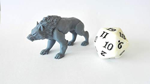 HERO Creations WARG - Dire Wolf - Miniature for Dungeon and Dragons Pathfinder - Unpainted - Gray