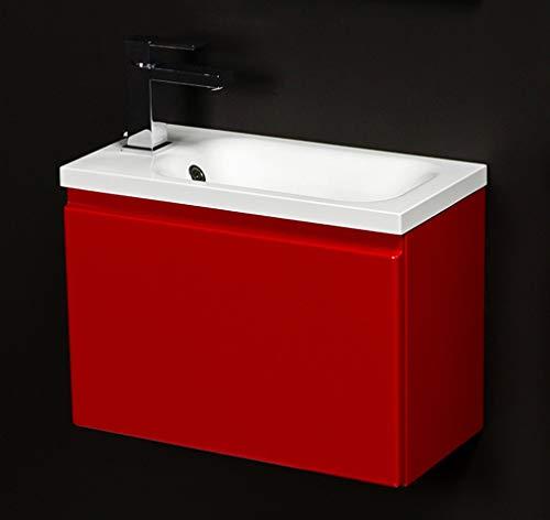 Quentis Badmöbel Faros, Breite 50 cm, Waschbecken und Unterschrank, rot glänzend