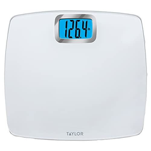 scales Taylor Precision Products Digital Scales for Body Weight, Extra High Accurate 440 LB Capacity, Unique Blue LCD, Bright White Finish Extra Large Platform, 12.2 x 13.5 Inches, White