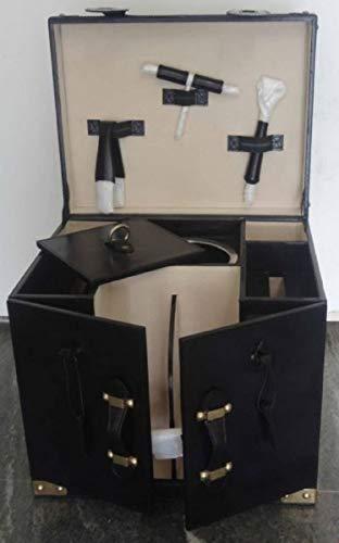Casa Padrino Rindsleder Minibar/Kofferbar mit Zubehör Schwarz 41 x 32,5 x H. 37 cm Qualität