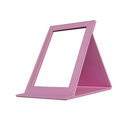 Folding Travel Vanity Mirror with Desktop Standing Makeup Mirror for Cosmetics Personal Beauty Portable Mirrors (Pink)