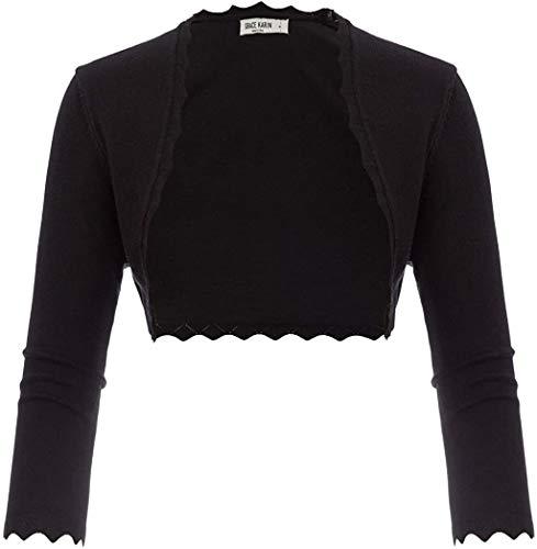 Women Open Front Irregular Hemline Bolero Shrug Cardigan Black Size XL CL960-1