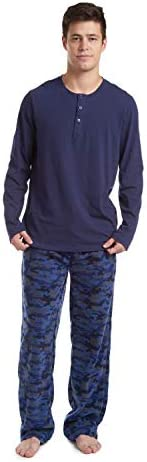 Cherokee Men s Long Sleeve Pajama Shirt and Pants Set Blue Camo Medium product image