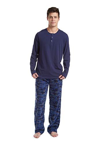 Cherokee Men's Long Sleeve Pajama Shirt and Pants Set, Blue Camo, X-Large