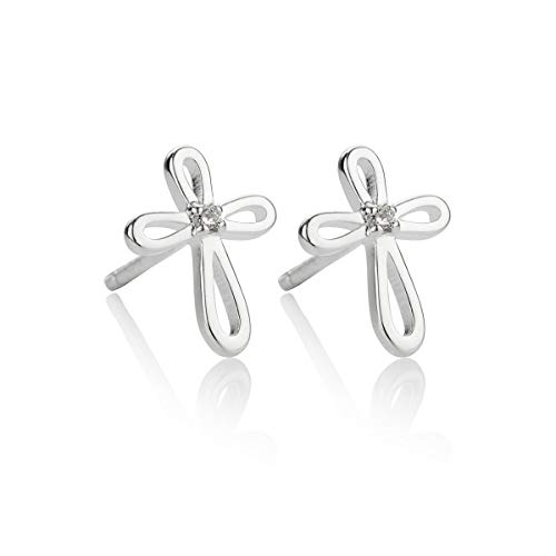 Molly B London Sterling Silver Hypoallergenic Girl's Cherish Diamond Cross Stud Earrings   First Holy Communion Gift   Baptism Jewelry   Girl's Religious Jewelry   Quinceañera Gift