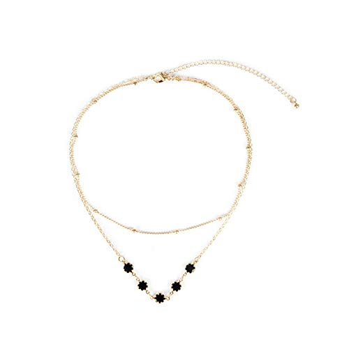 Multilayer Chain Pendant Layered Necklaces for Girls Flower Black Cubic Zirconia Handmade Necklace Gold Aooaz