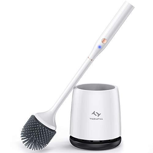 Tilswall Elektrische Toilettenbürste, Silikon WC-Bürste und Behälter, für Badezimmer mit schnell trocknendem Haltersatz