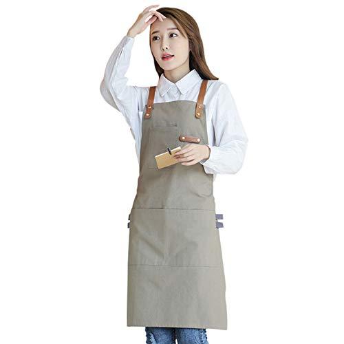 TUK Delantal de Trabajo de Lona, Ajustable Delantal de Cocina para Hombres y Mujeres para Cocinar Cocina, Jardín, Restaurante, Cafetería Caqui L,85x70cm