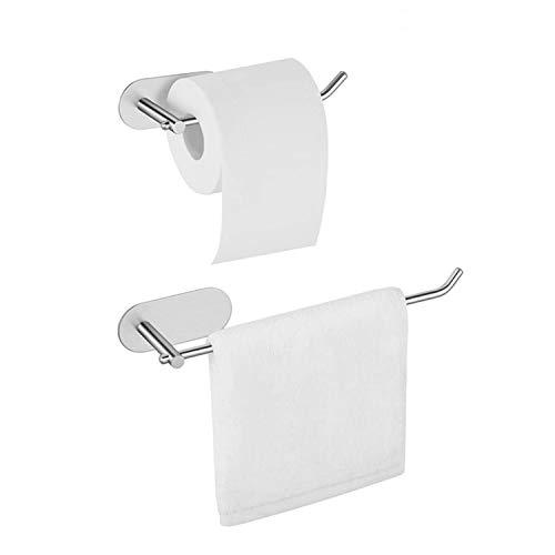 2 soportes para papel higiénico, para colgar en la pared, autoadhesivo, sin taladrar, acero inoxidable 304