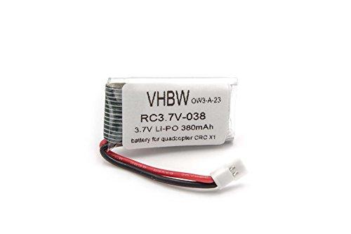 vhbw Batteria Li-Ion 380mAh (3.7V) per Drone, Quadricottero Carrera RC Quadricottero CRC X1 (503001), RC Video One (503003) Come Carrera 370410144
