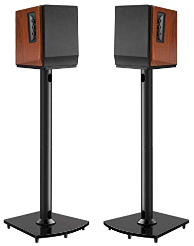 Surround Sound Speaker Stands 26 Inch Holds Satellite & Bookshelf Speakers to 22lbs (i.e.Polk, Yamaha, Edifier,Bose, Klipsch, Sonos, Sony and Samsung) Floor Speaker Mount with Cable Management Pair