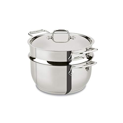All-Clad E414S564 Stainless Steel Steamer Cookware, 5-Quart, Silver -