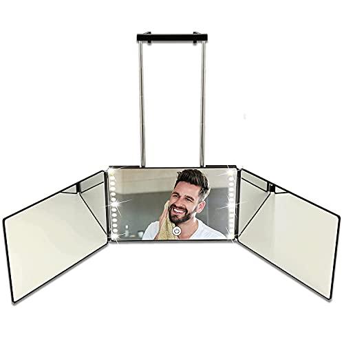 Miroir 360° avec lumières LED, Self Cut Mirror 3 Faces Rechargeable, Voir l'arrière de la tête, 30*20cm*3, pour la Coupe de Cheveux, Le coiffage, Le Rasage, réglables en Hauteur, Coiffure Miroir