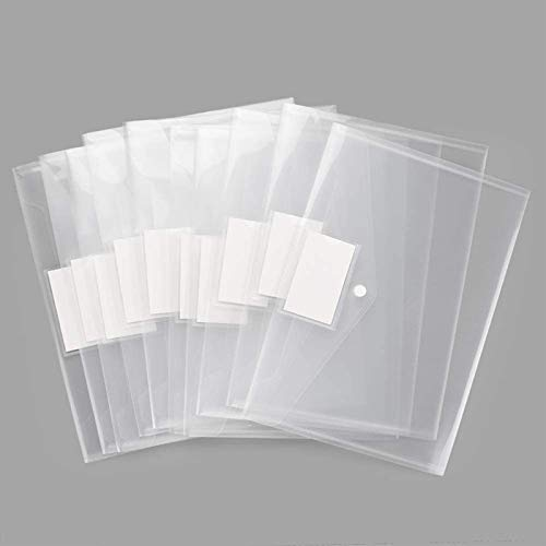 Plastic Envelopes Poly Envelopes, Sooez 10 Pack Clear Document Folders US Letter A4 Size File Envelopes with Label Pocket & Snap Button for School Home Work Office Organization, Clear