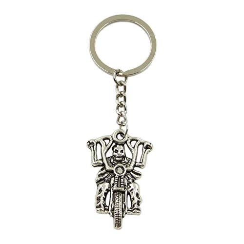 N/ A Todesritter Motorrad Anhänger Schlüsselring Metallkette Silber Herren Auto Geschenk Souvenir Schlüsselbund