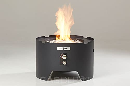 REALGLOW Circular Outdoor Portable Gas Fire Pit 13KW (Home and Camping) (Black)