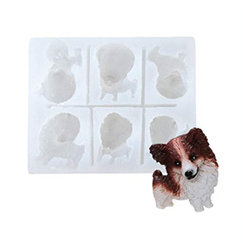 HELYZQ Cute Dog Corgi French Bulldog Silicone Mold Fondant Chocolate Candy Resin Mold